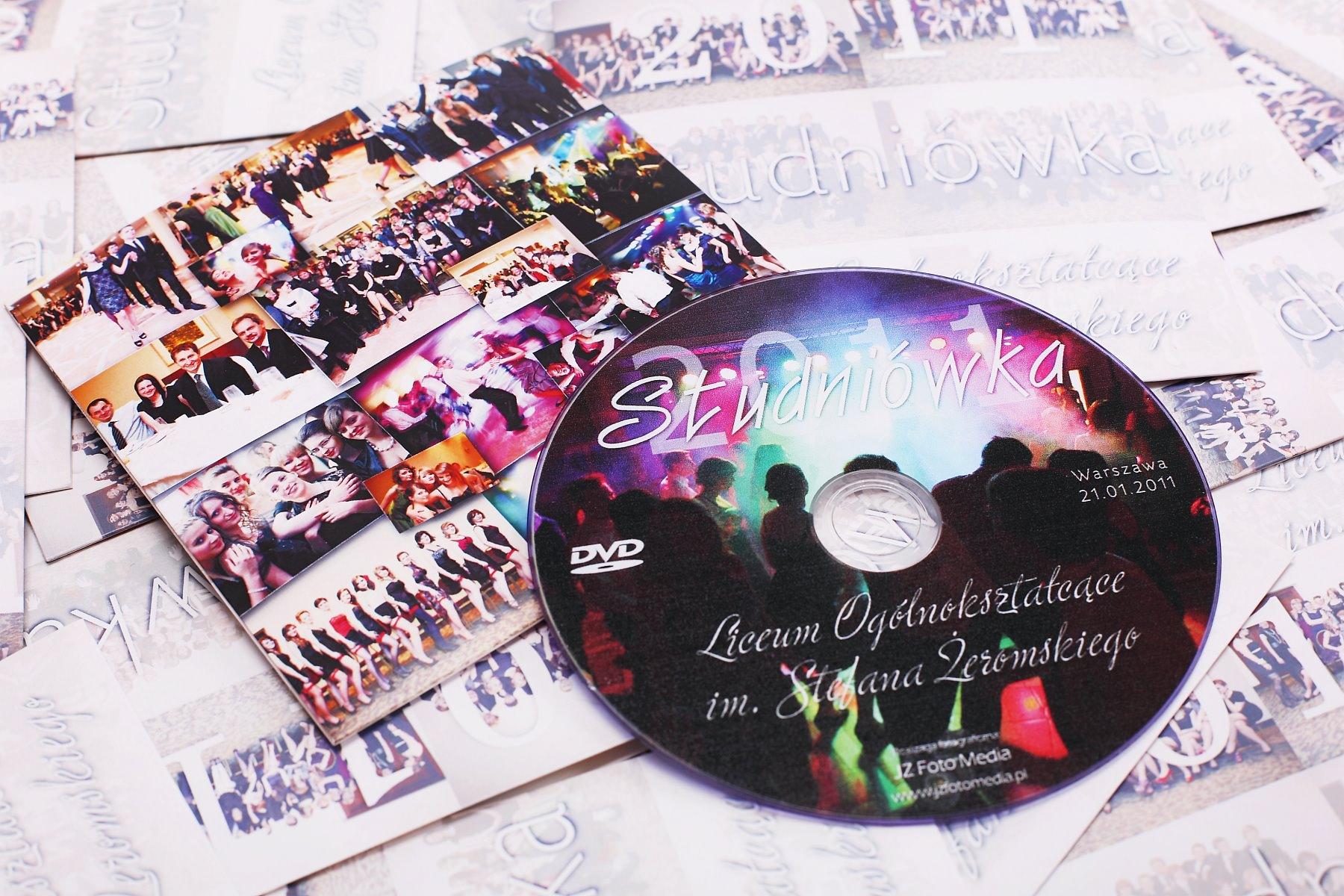 Projekt etui na DVD i nadruku na DVD oraz produkt finalny – 200 kompletów. Studniówka Warszawa.