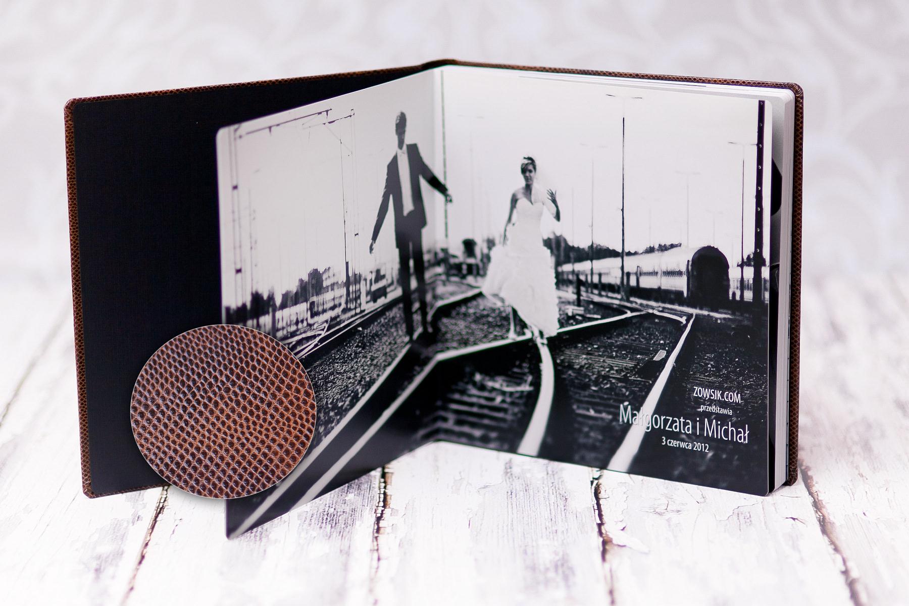 Ekskluzywny fotoalbum (30x30cm, okładka ekoskóra) + projekt. Etui na dvd. Małgorzata & Michał.