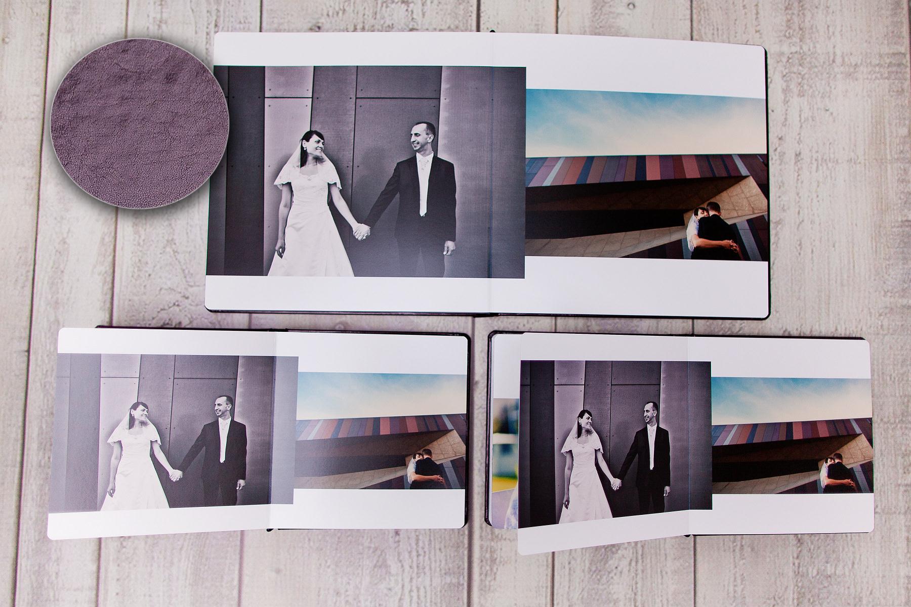 Fotoksiążka 30×30 z 4 oknami, powiększony zestaw wraz z etui na DVD i płytami z nadrukiem. Anna & Grzegorz.