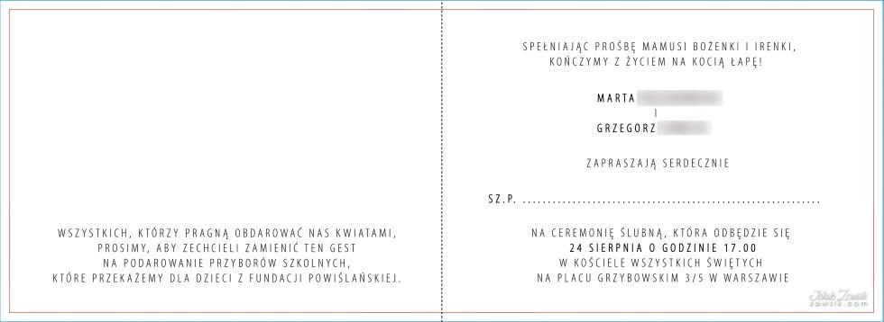 Zaproszenie ślubne Ze Zdjęciem Projekt Sesja Zdjęciowa Grzegorz I