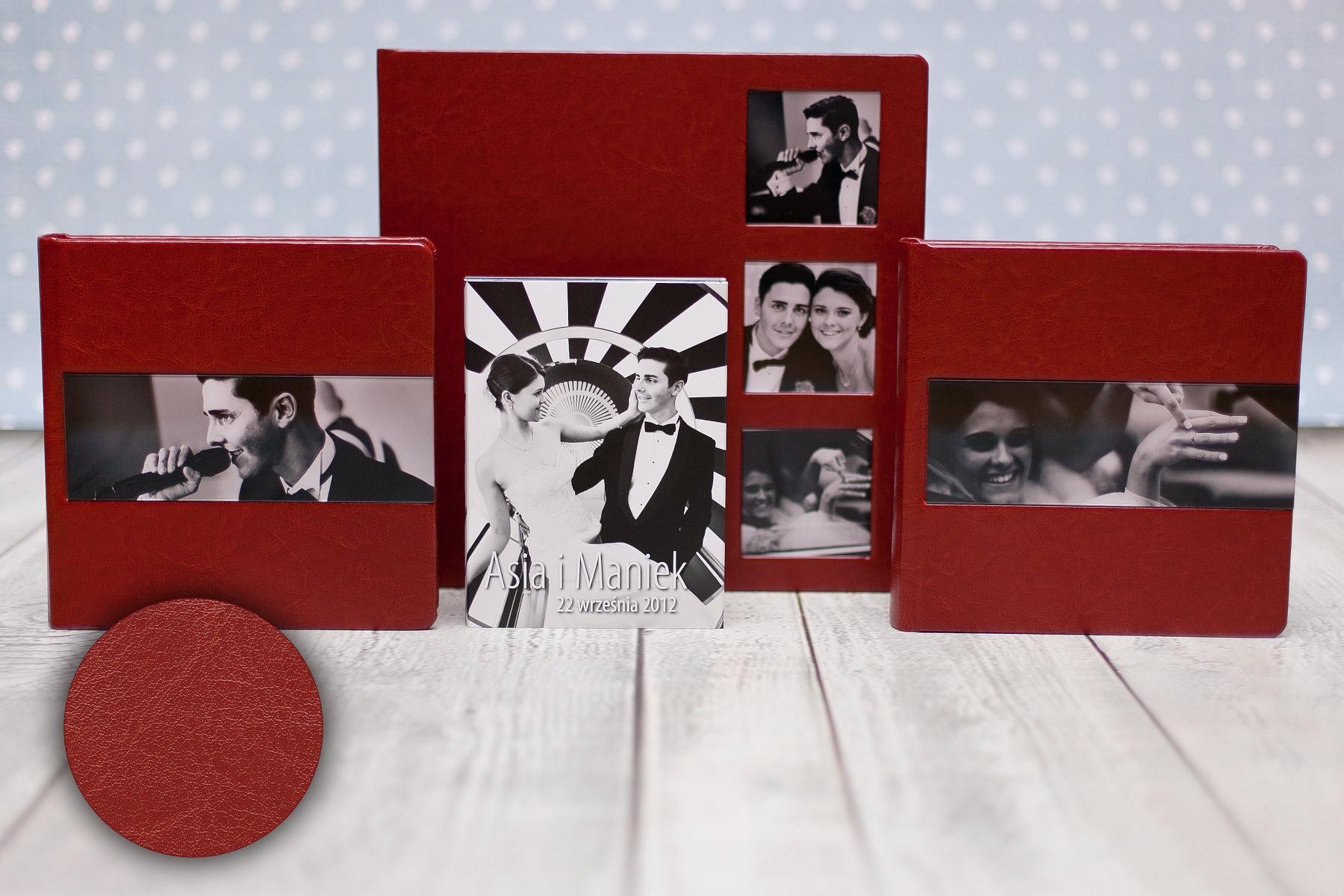 Fotoksiążka 30×30 (3 okna) + 2 albumy 20×20, okna akryl, płyty DVD i etui. Asia & Maniek.