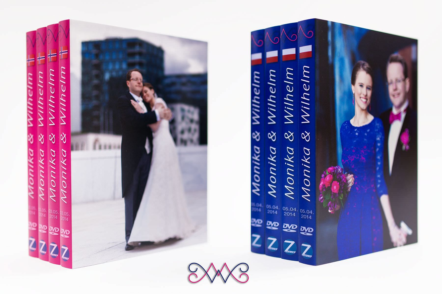 Monika i Wilhelm. Wedding DVD covers with printed DVDs.