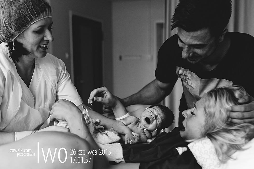 Reporaż z porodu i narodzin Iwo w Warszawie w Szpitalu św. Zofii przy ulicy Żelaznej