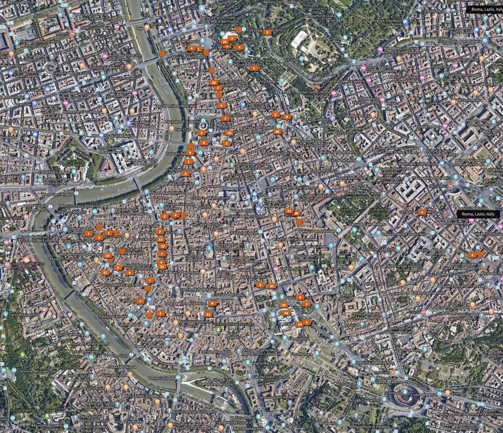 Rzym 2 dzień - mapa googla i trasa jaką pokonaliśmy drugiego dnia