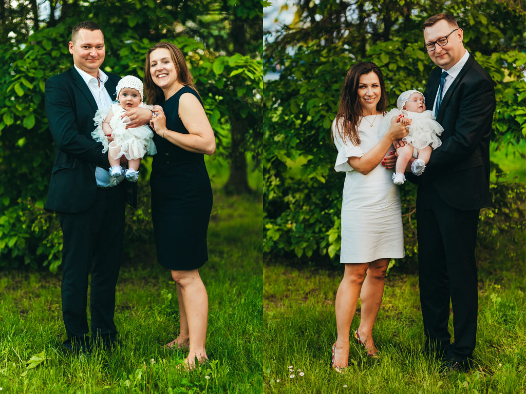 Portretowe rodzinne zdjęcia przy okazji chrzcin Ady